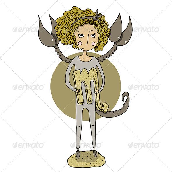Scorpio Cartoon Girl - Miscellaneous Vectors
