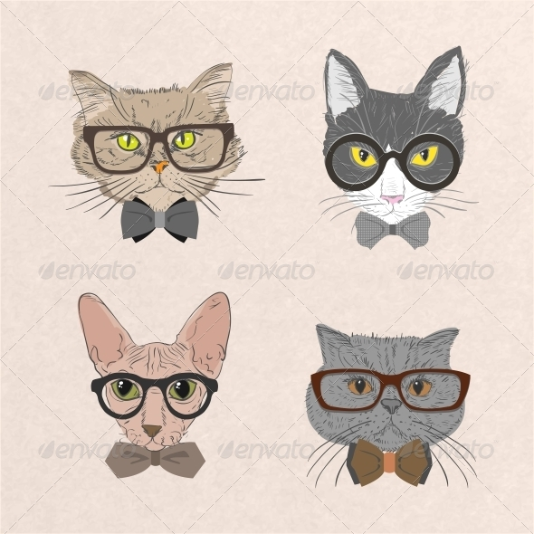 Collection of Hipster Cats - Animals Characters