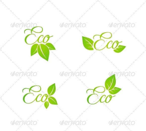 Set of Green Leaf Eco Concept Icons - Web Elements Vectors