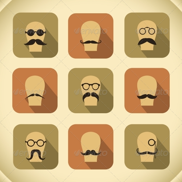 Set of Hipster Mustaches and Glasses - Web Elements Vectors