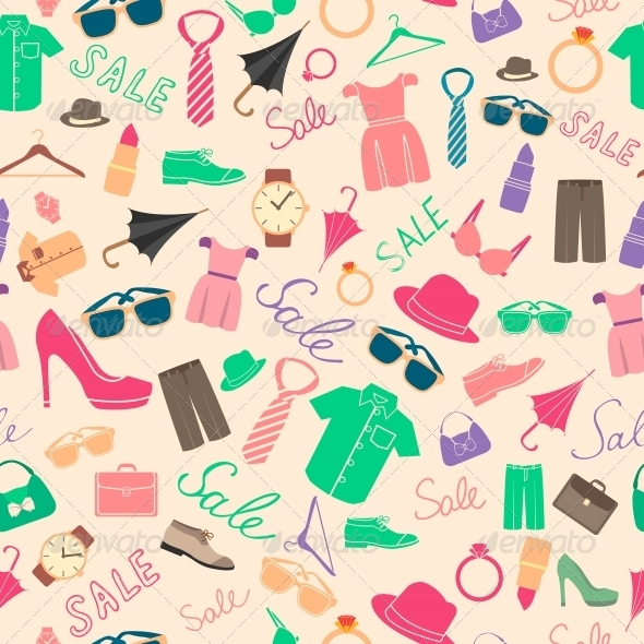 Fashion and Clothes Accessories Seamless Pattern - Backgrounds Decorative