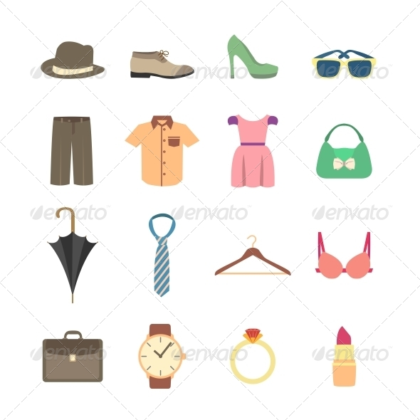 Fashion and Clothes Accessories Icons - Web Elements Vectors