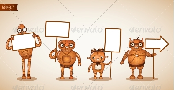 Icons of Intelligent Machines Holding Signs - Web Elements Vectors
