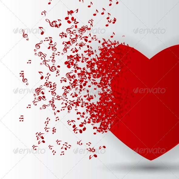 Happy Valentines Day Card with Heart and Music - Valentines Seasons/Holidays
