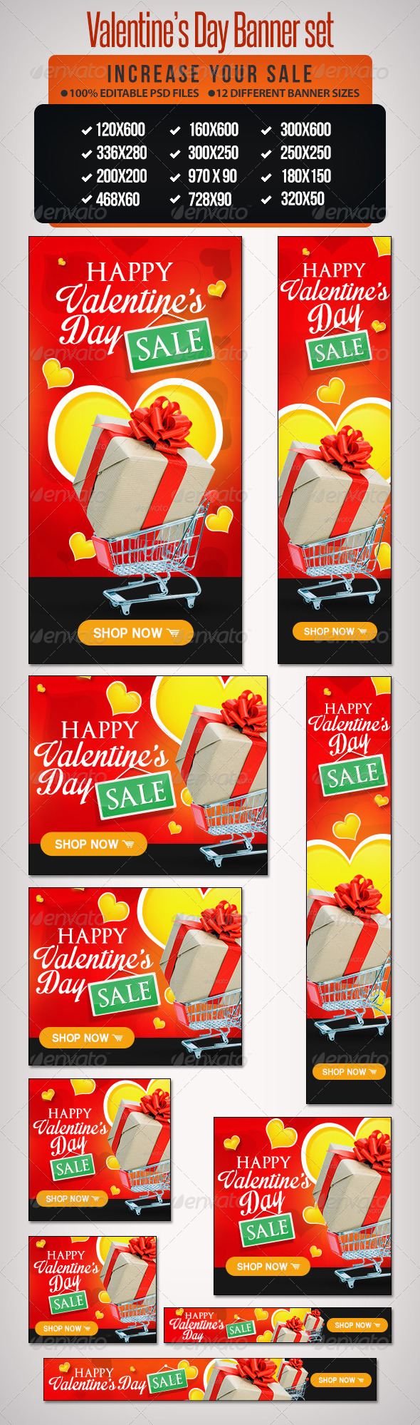 Valentine's Day Sale Banner Set- 12 Google Sizes - Banners & Ads Web Elements
