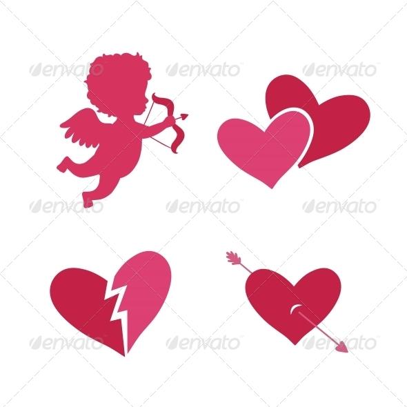 Set of Cupid Icons - Web Elements Vectors