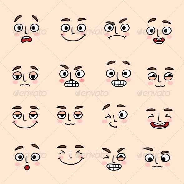 Facial Mood Expression Icons Set - Web Elements Vectors