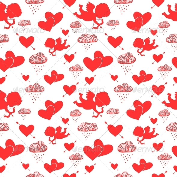 Valentine Cupids Seamless Pattern - Valentines Seasons/Holidays