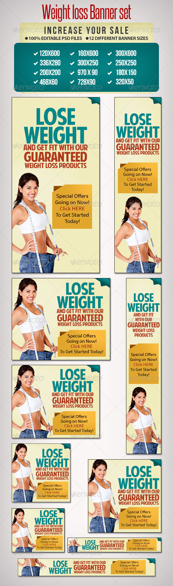 Weightloss Banner Set 4 - 12 Google Standard Sizes - Banners & Ads Web Elements