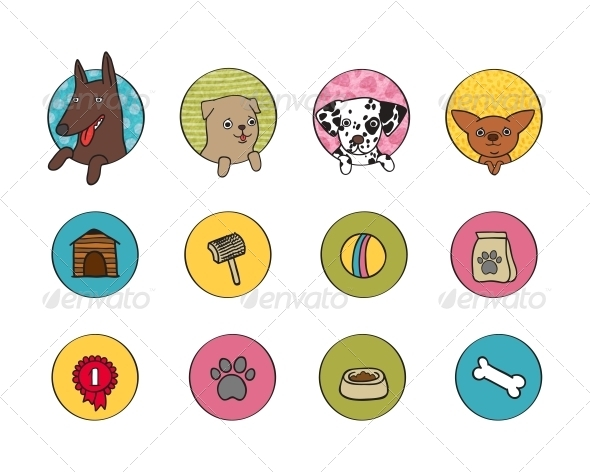 Dogs Icons Set - Web Elements Vectors