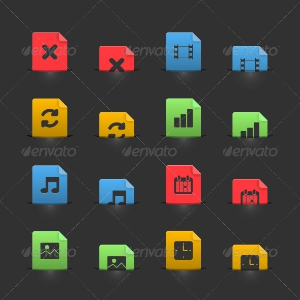 Online Media Icons Set on Moving Stubs - Web Elements Vectors
