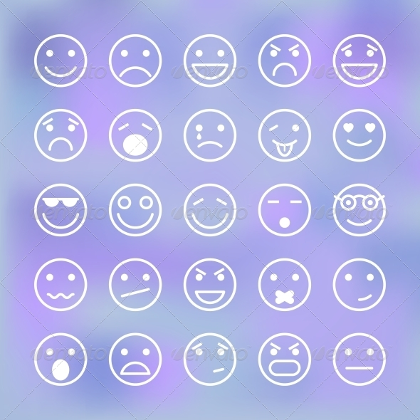 Icons Set of Smiley Faces for Mobile Application - Web Elements Vectors