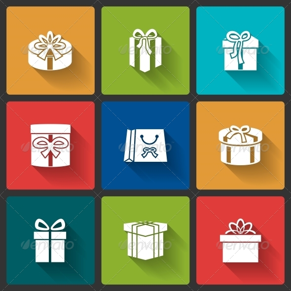 Gift Boxes Icons - Web Elements Vectors