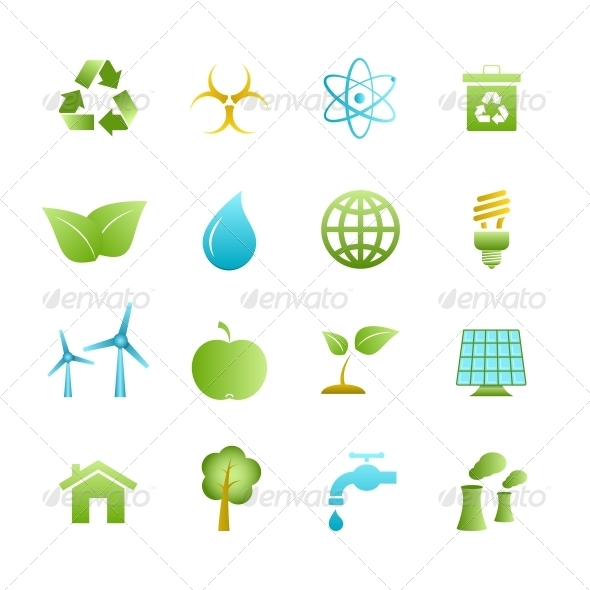 Green Eco Icons Set - Web Icons