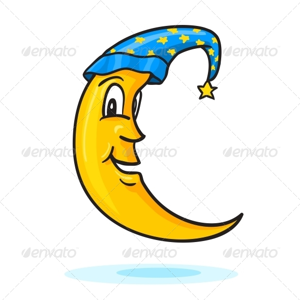 Moon in Nightcap with Gold Star - Decorative Symbols Decorative