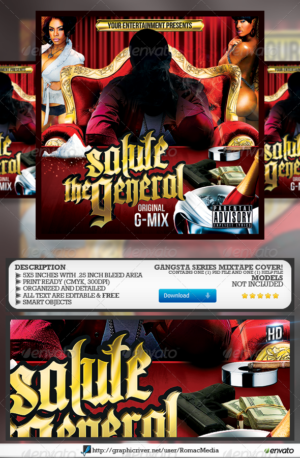 Salute the General CD Cover - CD & DVD Artwork Print Templates