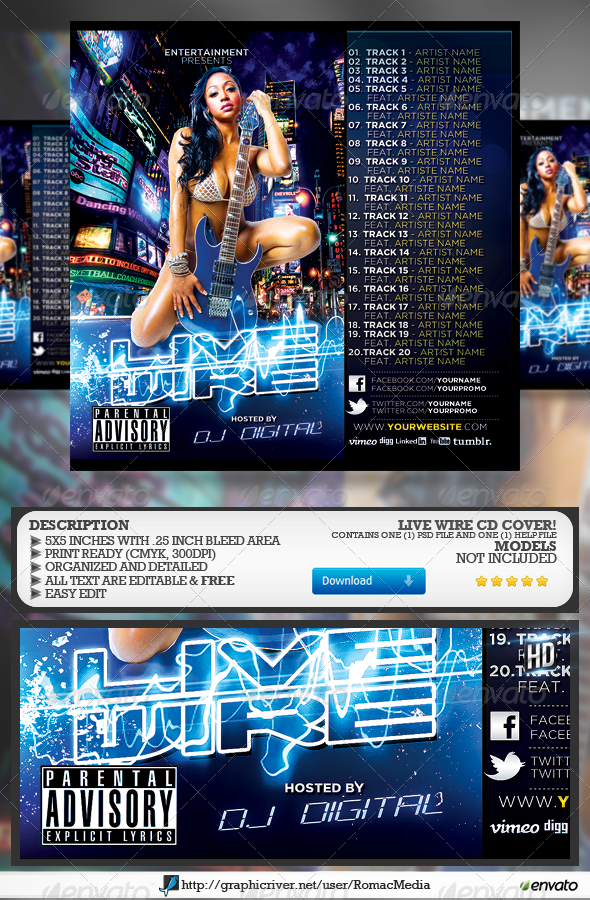 Live Wire CD Cover - CD & DVD Artwork Print Templates