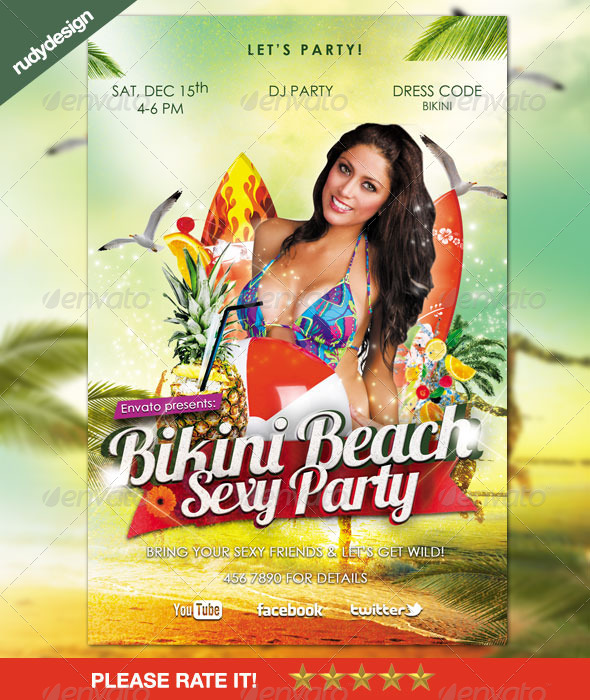 Bikini Beach Party Sexy Flyer - Clubs & Parties Events