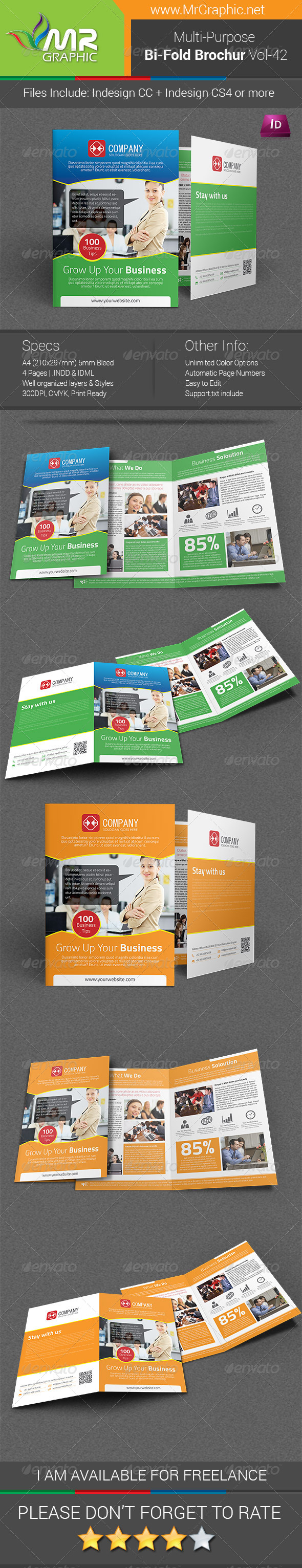 Multipurpose Bifold Brochure Template Vol-42 - Corporate Brochures