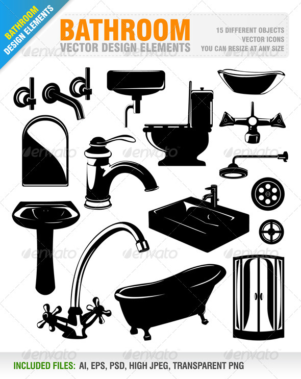 Bathroom Design Elements - Objects Vectors