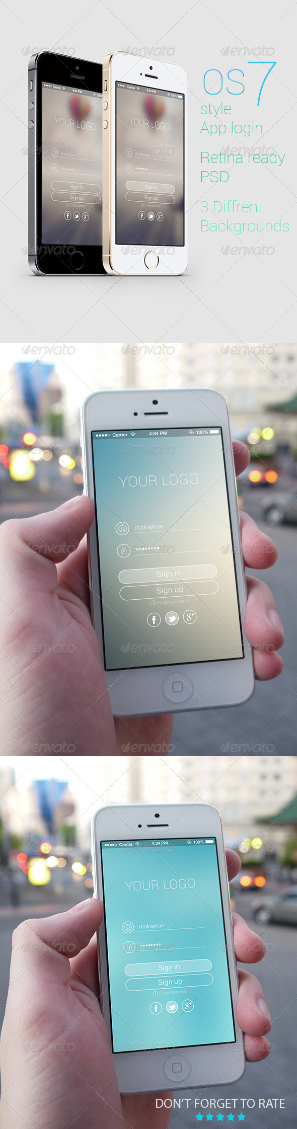 OS 7 Style Phone App login  - User Interfaces Web Elements