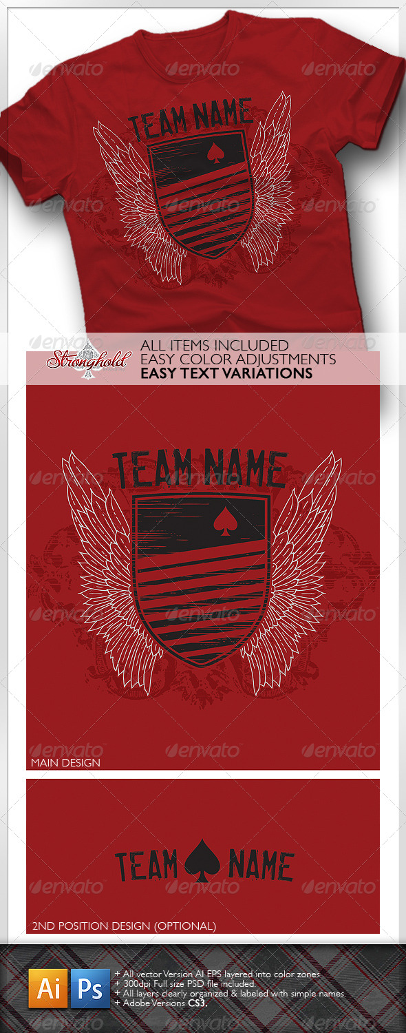 Rugby Style T-Shirt Template - Grunge Designs