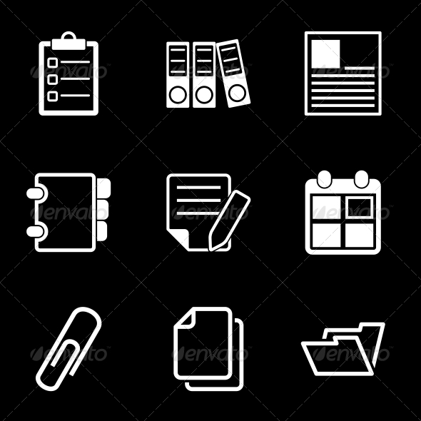 White Document Office Icons - Business Icons