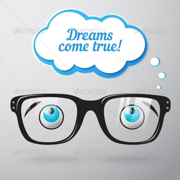 Glasses with Eyes Dreaming Concept - Miscellaneous Conceptual