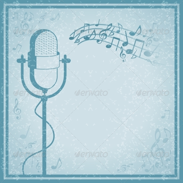 Microphone with Music on Vintage Background - Backgrounds Decorative