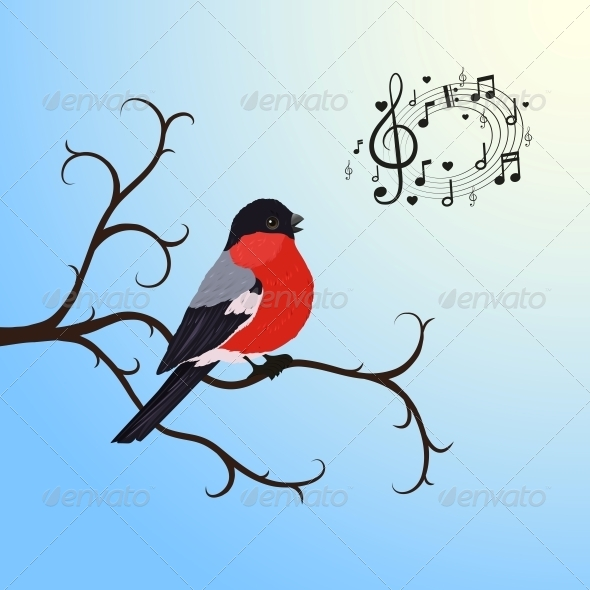 Singing Bullfinch Bird on a Tree Branch - Animals Characters