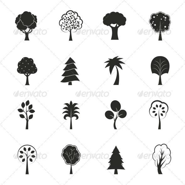 Abstract Ecology Growth Icons Set - Web Elements Vectors