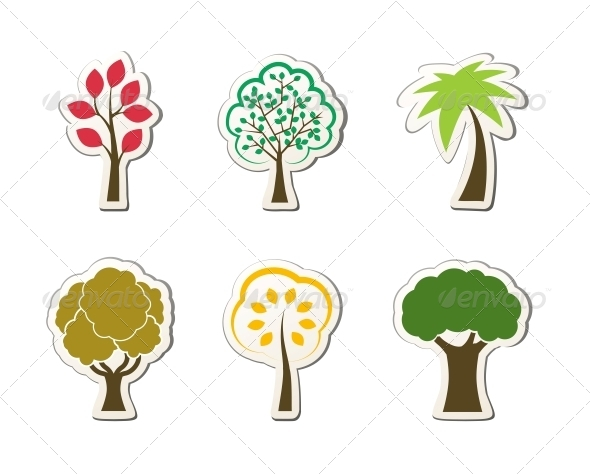 Tree Symbols for Green Web Design - Flowers & Plants Nature