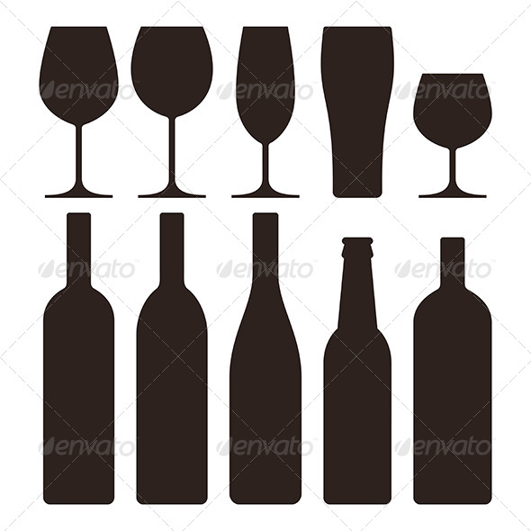 Bottles and Glasses Set  - Food Objects