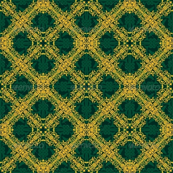 Seamless Yellow and Green Pattern - Backgrounds Decorative