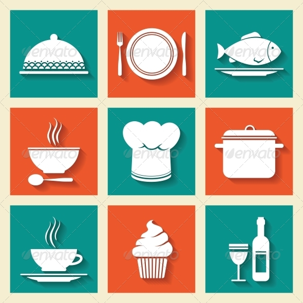 Icons Set for Restaurant or Cafe - Food Objects