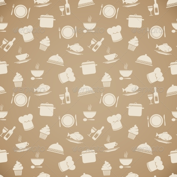 Seamless Restaurant Menu Pattern Background - Backgrounds Decorative