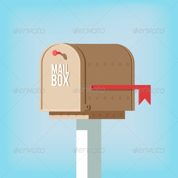 Mail Postbox on Pole with Red Flag - Man-made Objects Objects