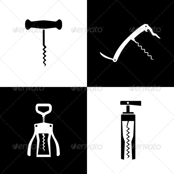 Set of Black and White Corkscrews - Web Elements Vectors