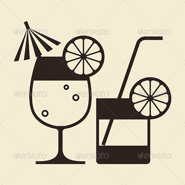 Cocktails with Lemon and Drinking Straw - Food Objects