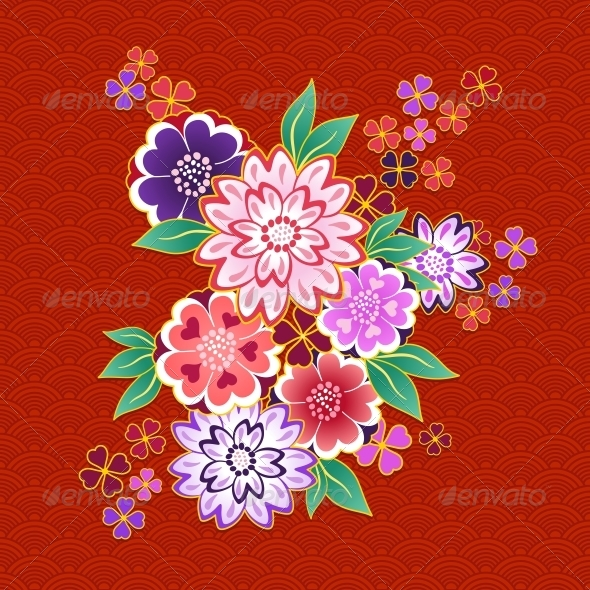 Decorative Kimono Floral Motif on Red Background - Decorative Symbols Decorative