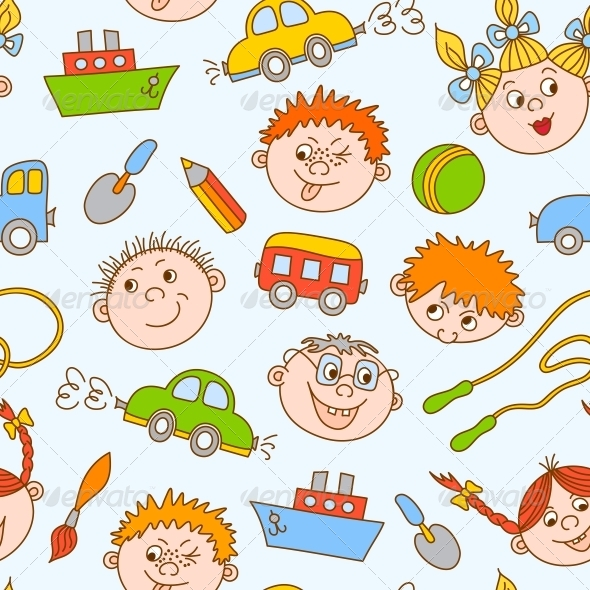 Seamless Doodle of Smiling Boys and Girls - Backgrounds Decorative
