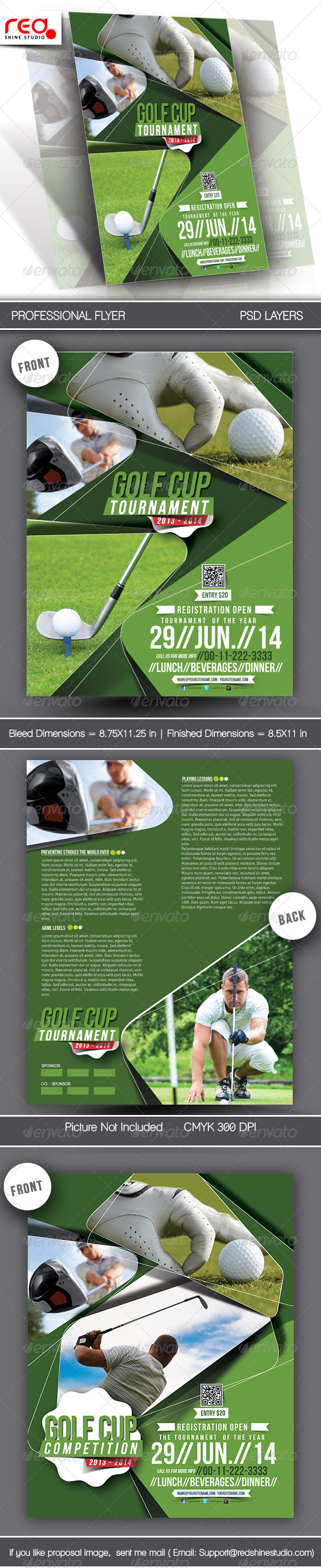 Golf Tournament Flyer & Poster Template  - Sports Events