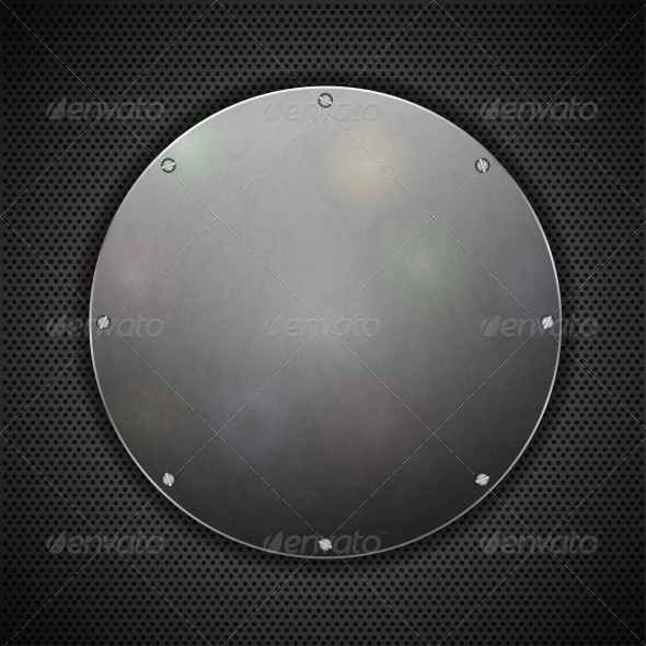 Circle Steel Plate on Metal Background - Buildings Objects