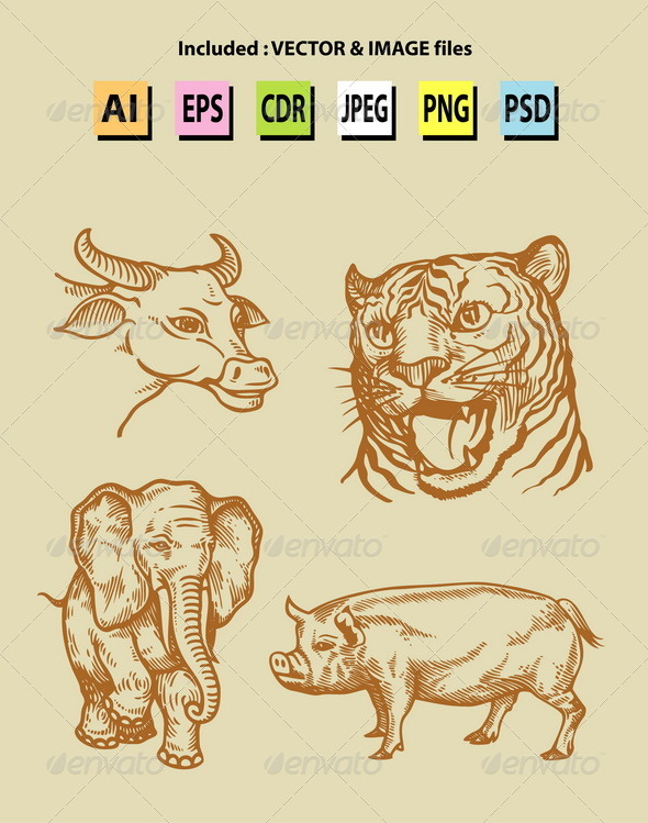 Vintage Animal Sketches - Animals Characters
