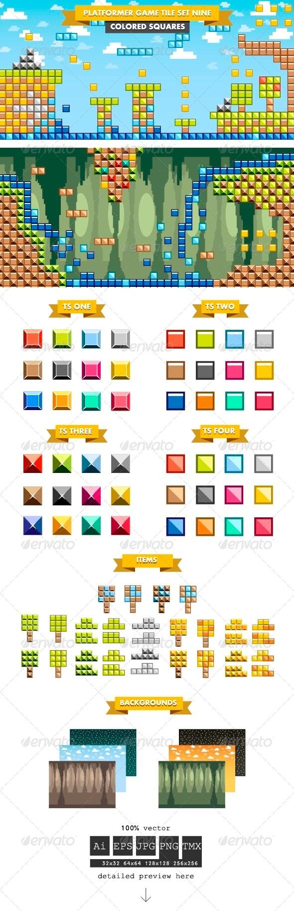 Platformer Game Tile Set Nine - Tilesets Game Assets