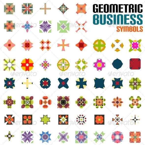 Set of Abstract Geometric Shape Icons - Web Technology