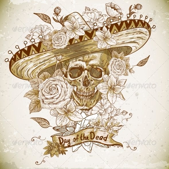 Skull in Sombrero with Flowers Day of The Dead - Patterns Decorative