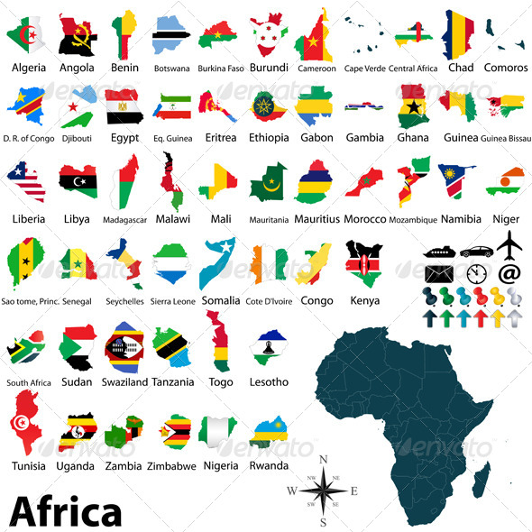 Maps with Flags of Africa - Travel Conceptual