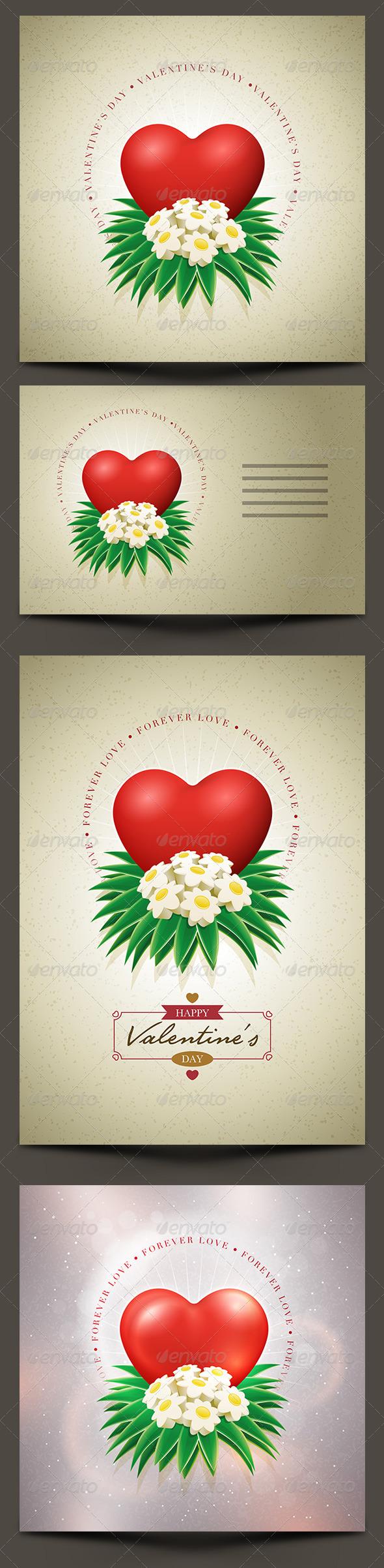 Valentine's Day Card Set - Valentines Seasons/Holidays