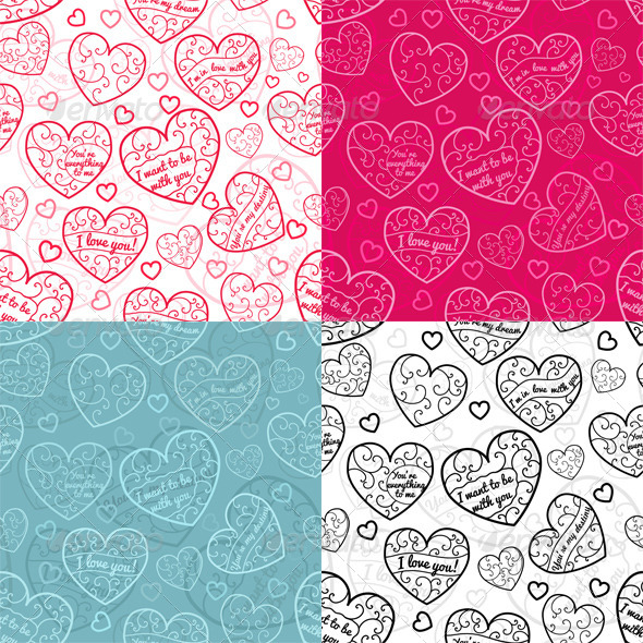 Seamless Patterns of Hearts - Valentines Seasons/Holidays